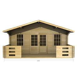 5m x 3m Deluxe Apex Log Cabin - Double Glazing - 44mm Wall Thickness (2087)
