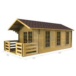 3m x 5m Apex Log Cabin - Double Glazing - 44mm Wall Thickness (2017)