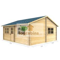 5.5m x 5.0m Deluxe Reverse Apex Log Cabin - Double Glazing - 44mm Wall Thickness (2111)
