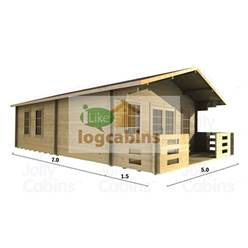 5m x 7m Deluxe Apex Log Cabin - Double Glazing - 70mm Wall Thickness (2097)
