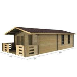 4m x 8m Deluxe Apex Log Cabin - Double Glazing - 70mm Wall Thickness (2049)