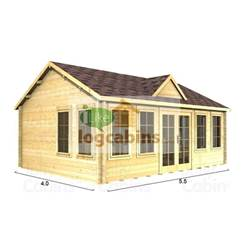 5.5m x 4m Deluxe Reverse Apex Log Cabin - Double Glazing - 70mm Wall Thickness (4997)