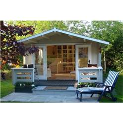 Deluxe 4m x 3m Apex Log Cabin - Double Glazing - 44mm Wall Thickness (5120)