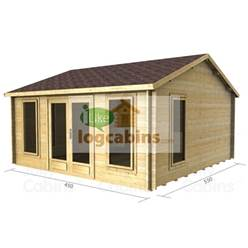 4.5m x 5.5m Reverse Apex Log Cabin - Double Glazing - 44mm Wall Thickness (2078)