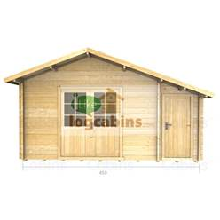 4.5m x 3.5m Apex Log Cabin - Double Glazing - 44mm Wall Thickness (2080)