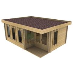 6m x 5m Deluxe Pent Log Cabin - Double Glazing - 70mm Wall Thickness (4617)