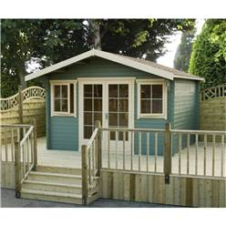 3.59m x 2.99m Superior Home Office Log Cabin + Double Doors - 44mm Tongue and Groove Logs