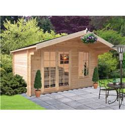 4.19m x 3.59m Superior Apex Log Cabin + Double Fully Glazed Doors - 34mm Tongue and Groove Logs