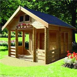 3.89m x 4.49m HIGH GRADE ROCKINGHAM APEX LOG CABIN - 70MM TONGUE AND GROOVE LOGS