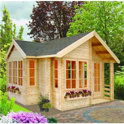 5.05m x 5.05m BEDGBURY APEX LOG CABIN - 44MM TONGUE AND GROOVE LOGS