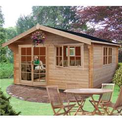 3.59m x 4.19m ABBEYFORD APEX LOG CABIN - 44MM TONGUE AND GROOVE LOGS