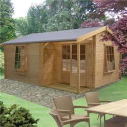 4.19m x 4.49m RINGWOOD APEX LOG CABIN - 28MM TONGUE AND GROOVE LOGS