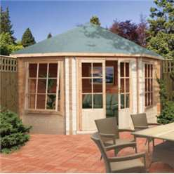 2.96m x 2.96m ARDCASTLE LOG CABIN WITH DOUBLE DOOR - 28MM TONGUE AND GROOVE LOGS