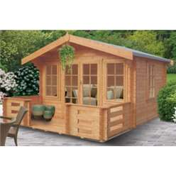 4.19m x 3.59m GRIZEDALE LOG CABIN - 34MM TONGUE AND GROOVE LOGS