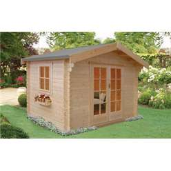 2.99m x 2.99m DALBY LOG CABIN - 28MM TONGUE AND GROOVE LOGS