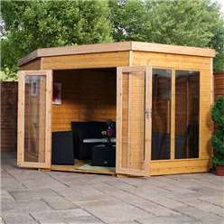 9 x 9 Premier Wooden Corner Garden Summerhouse (Tongue and Groove Roof and Floor) - 48HR + SAT Delivery*