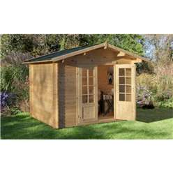 2.2m x 2.2m Log Cabin With Double Doors - 28mm Wall Thickness **Includes Free Shingles**