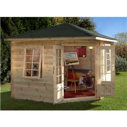 3.0m x 3.0m Corner Log Cabin With Double Doors - 28mm Wall Thickness - INSTALLED **Includes Free Shingles**