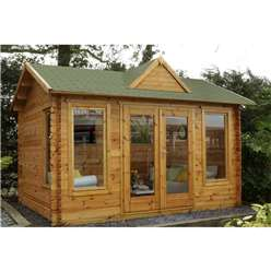 4.0m x 3.0m Log Cabin With Double Doors + 3 Large Windows - 34mm Wall Thickness **Includes Free Shingles**