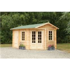 4.0m x 2.8m Unique Log Cabin With Glazed Double Doors - 34mm Wall Thickness - INSTALLED **Includes Free Shingles**