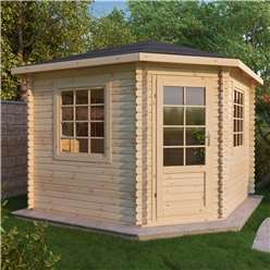 INSTALLED 3m x 3m Deluxe Corner Log Cabin (Single Glazing) + Free Floor & Felt & Safety Glass (28mm Tongue & Groove Logs) - INCLUDES INSTALLATION