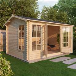 INSTALLED 4m x 3m Deluxe Reverse Log Cabin (Single Glazing) + Free Floor & Felt & Safety Glass (34mm Tongue and Groove Logs) - INCLUDES INSTALLATION