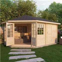INSTALLED 5m x 3m Deluxe Plus Corner Log Cabin (Single Glazing) + Free Floor & Felt & Safety Glass (34mm Tongue and Groove Logs) **Left - INCLUDES INSTALLATION