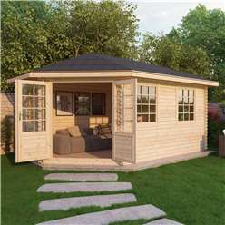 INSTALLED 5m x 3m Deluxe Grande Corner Log Cabin (Single Glazing) + Free Floor & Felt & Safety Glass (44mm Tongue and Groove Logs) **Left - INCLUDES INSTALLATION