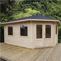 INSTALLED 5m x 3m Deluxe Grande Corner Log Cabin (Double Glazing) + Free Floor & Felt & Safety Glass (34mm Tongue and Groove Logs) **Right - INCLUDES INSTALLATION