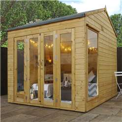 INSTALLED 8 x 8 Vermont Reverse Tongue and Groove Summerhouse (12mm Tongue and Groove Floor) INCLUDES INSTALL