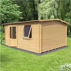 4m x 3m Home Office Exclusive Log Cabin (Single Glazing) + Free Floor & Felt & Safety Glass (44mm Tongue and Groove Logs)