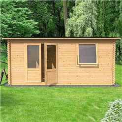 6m x 5m Home Office Exclusive Log Cabin (Double Glazing) + Free Floor & Felt & Safety Glass (44mm Tongue and Groove Logs)