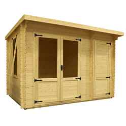 3.5m x 2.4m Value Log Cabin + Free Floor & Felt & Safety Glass (19mm Tongue and Groove)