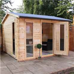 3.5m x 3m Value Log Cabin + Free Floor & Felt & Safety Glass (19mm Tongue and Groove)