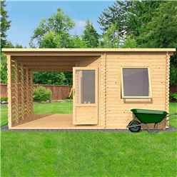 5m x 3m Corner Cabin with Side Area Log Cabin (Single Glazing) + Free Floor & Felt & Safety Glass (34mm Tongue and Groove Logs)