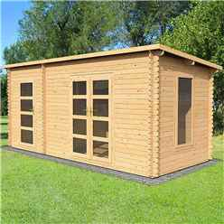 5.4m x 2.5m Pent Log Cabin with Side Shed (Double Glazing) + Free Floor & Felt & Safety Glass (44mm Tongue and Groove Logs)