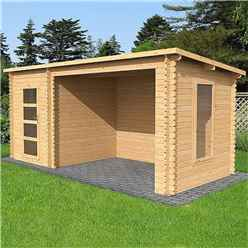 5.4m x 2.5m Pent Log Cabin with Open Space (Double Glazing) + Free Floor & Felt & Safety Glass (44mm Tongue and Groove Logs)
