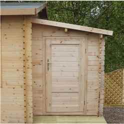 2.24m x 1.62m Log Cabin Side Shed + Free Floor & Felt (19mm Tongue and Groove Logs)