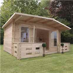 5m x 3m Woburn Log Cabin With Veranda (Single Glazing) + Free Floor & Felt & Safety Glass (34mm Tongue and Groove Logs)