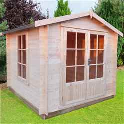 2.7m x 2.7m Premier Apex Log Cabin With Double Doors + Free Floor & Felt (19mm)