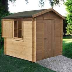 INSTALLED - 2.4m x 2.4m Premier Apex Log Cabin With Single Door and  Window Shutter + Free Floor & Felt (19mm)