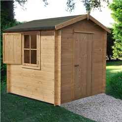 INSTALLED - 2.7m x 2.7m Premier Apex Log Cabin With Single Door and Window Shutter + Free Floor & Felt (19mm)