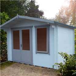 INSTALLED - 3.3m x 3m Premier Log Cabin With Half Glazed Double Doors + Single Window + Free Floor & Felt (19mm)