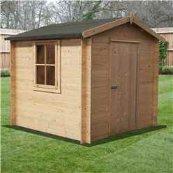 INSTALLED - 2.7m x 2.7m Premier Apex Log Cabin With Single Door + Free Floor & Felt (19mm)