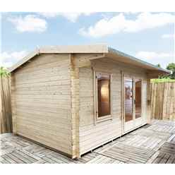 INSTALLED 4.2m x 3.0m Premier Reverse Apex Home Office Log Cabin (Single Glazing) - Free Floor & Felt (34mm) - INSTALLATION INCLUDED