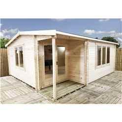 INSTALLED 6m x 5m Premier Home Office Apex Log Cabin (Single Glazing) - Free Floor & Felt (70mm) (Showsite)