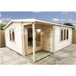 INSTALLED 4.8m x 5m Premier Home Office Apex Log Cabin (Single Glazing) - Free Floor & Felt 70mm)