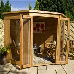 7 x 7 Deluxe Tongue and Groove Corner Summerhouse with Solid OSB Floor