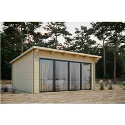 5m x 3m Sliding Door Pent Log Cabin - Double Glazing (68mm Wall Thickness)
