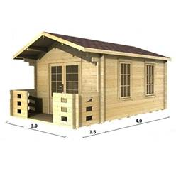 3m x 4m Deluxe Apex Log Cabin - Double Glazing - 34mm Wall Thickness (2016)
